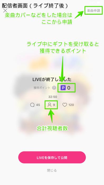 配信者画面(ライブ終了後)